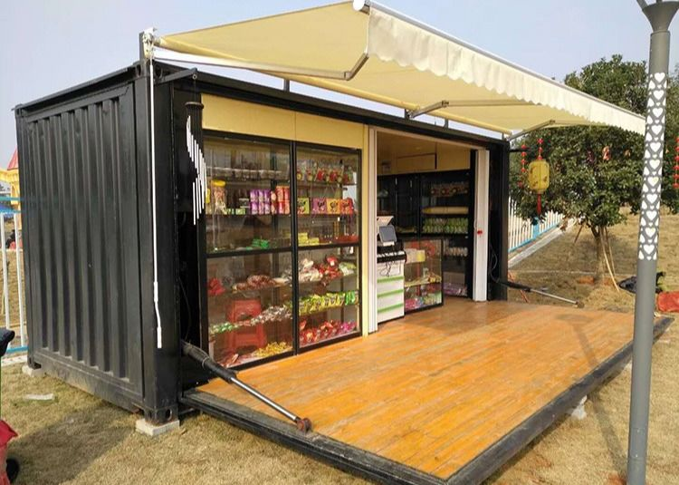 Hollow Tempered Glass 20 HC Prefabricated Container Coffee Shop