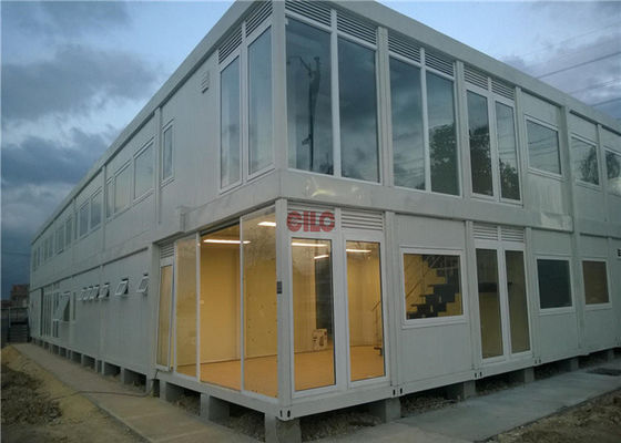China Industrial Flat Pack Container HouseLarge Glass Decoration Flat Pack Prefab House factory